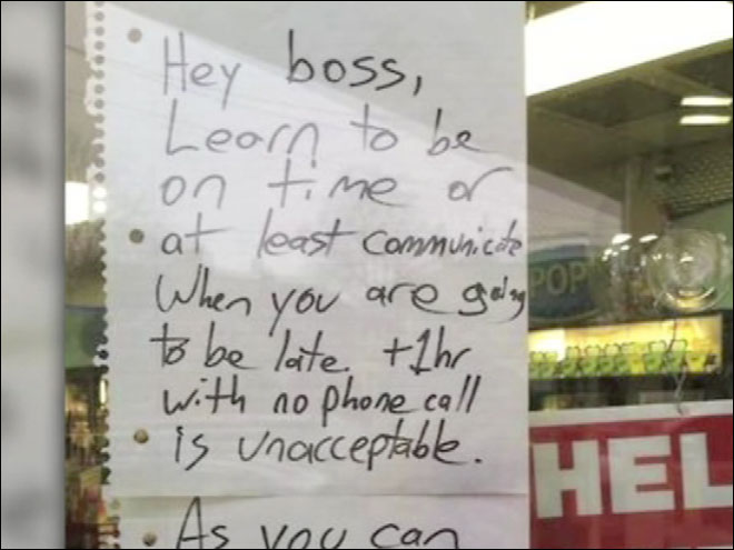 Man fired after leaving angry note to boss