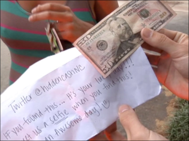 Mystery man leaves envelopes of cash in N.C.