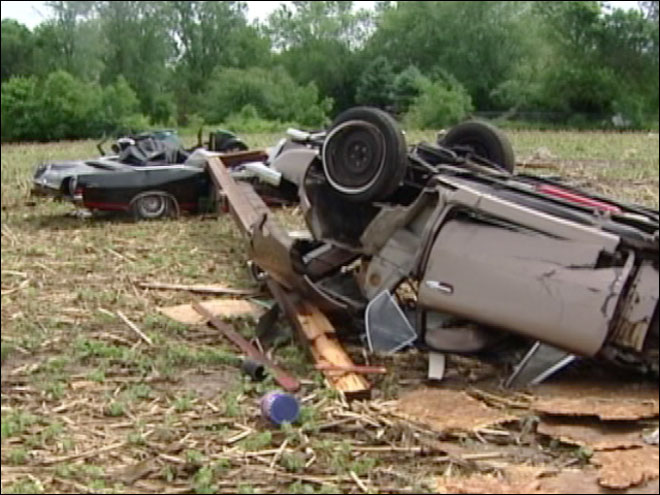Classic cars destroyed by tornado