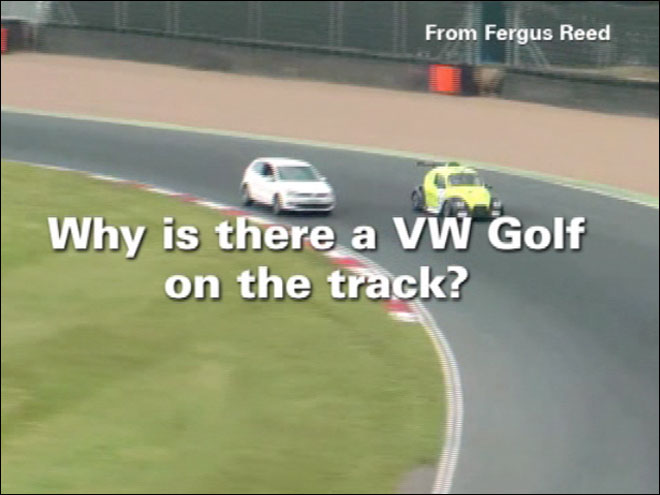 Guy crashes VW race as girl screams