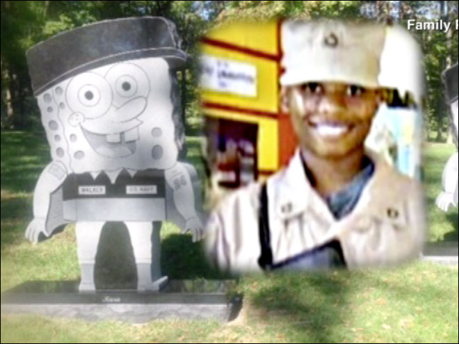 Soldier's Spongebob gravestone removed