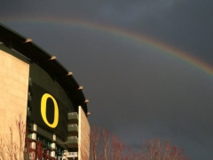 Rainbow over Autzen stadium