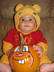 Hunters first Halloween as Pooh Bear!!