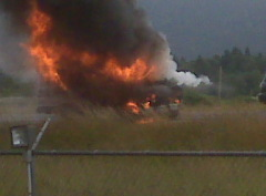 I-5 southbound MP199 van fire Monday