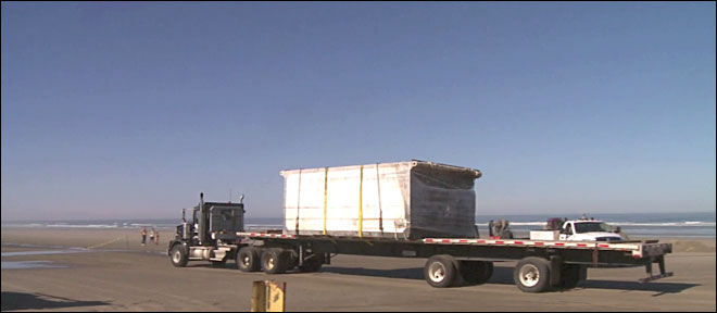 First pieces of tsunami dock carted away