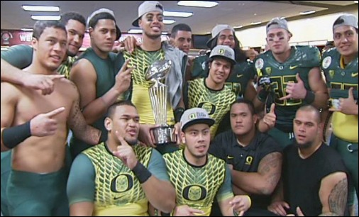 Video: From leather helmets to mirrored lids, Ducks celebrate first Rose Bowl win in 95 years