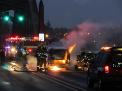 Volkswagen explodes on Suislaw Bridge