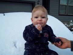 Ethan's first snow!