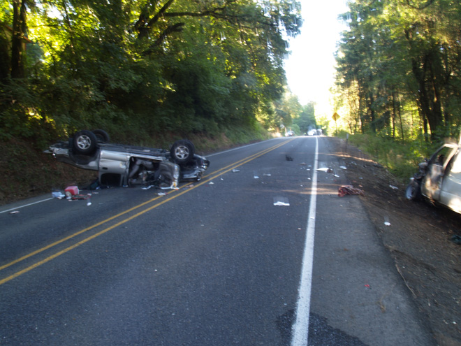 Head-on collision on Highway 20