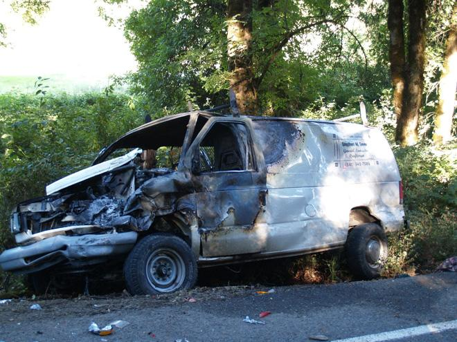 Head-on collision - van fire
