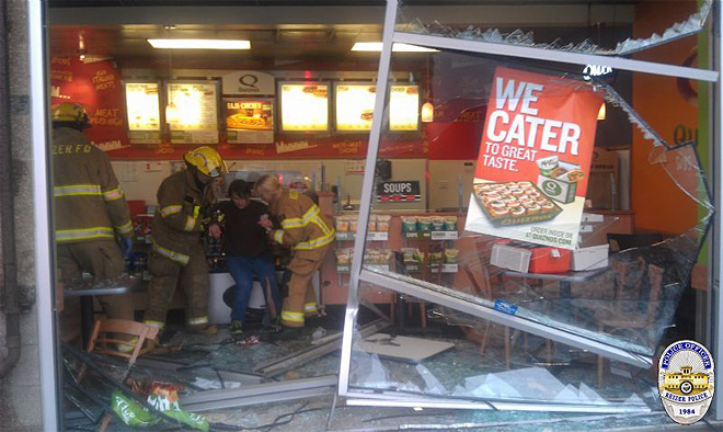 Eugene residents injured when car crashes into sub shop