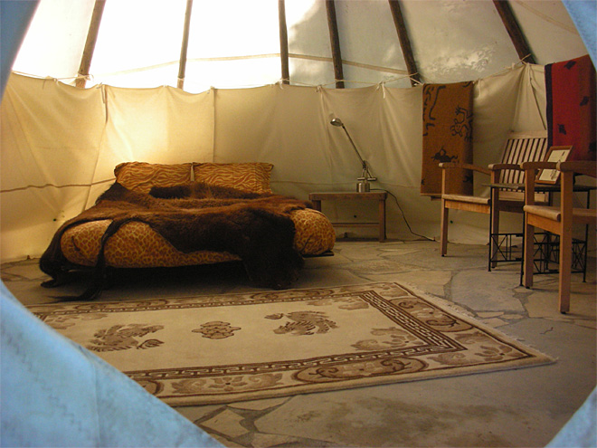 Inside Sitting Bull tipi
