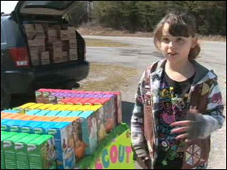 Girl Scout troop sells cookies at landfill