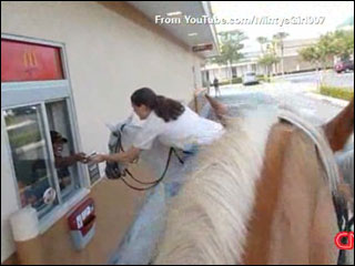 Horsing around at drive-thrus