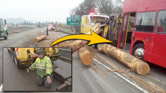 Collision sends logs crashing into double-decker bus on I-5