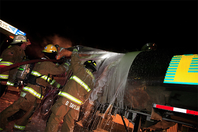 Milk truck catches fire in Tangent