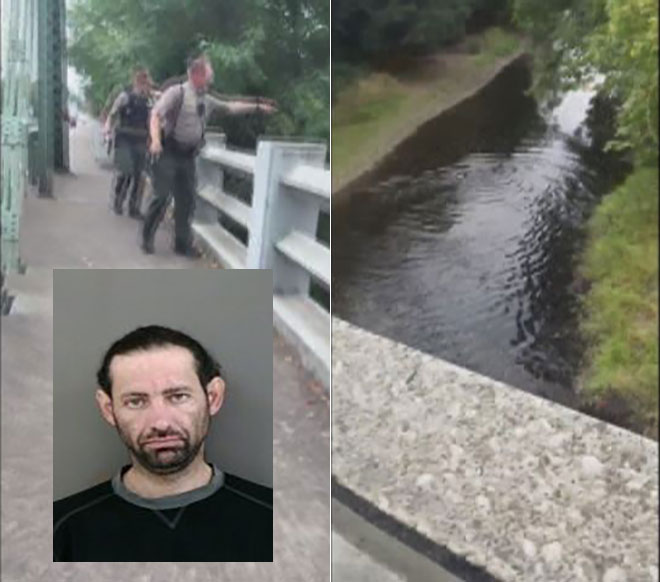 Police: Wanted man on stolen motorcycle ditches bike, swims for it
