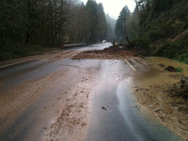 Mudslide on Highway 126 near Knowles Creek