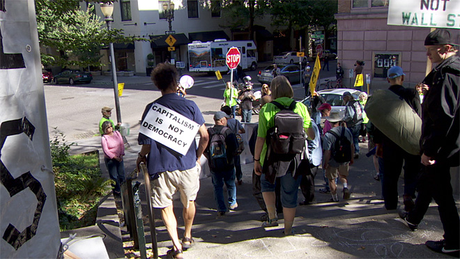 Hundreds march on Occupy Portland anniversary
