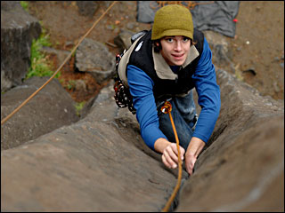 When rain stops in Eugene, rock climbers line up Columns