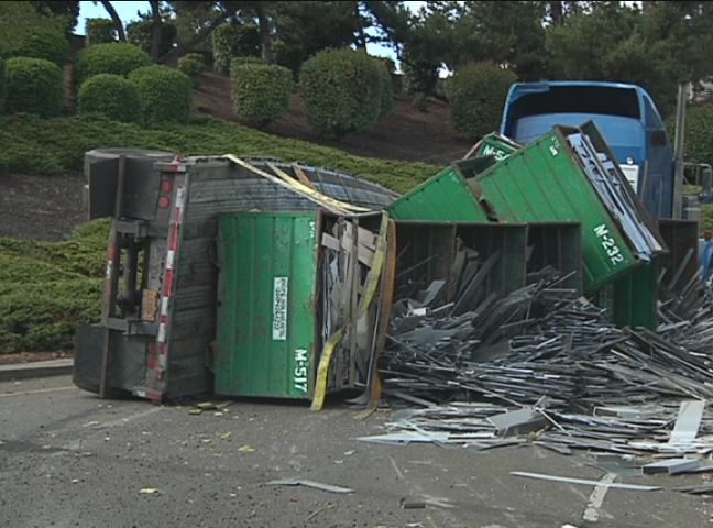 Officials: 44,000 pounds of aluminum shuts down on-ramp