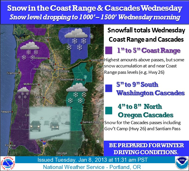 Snow in Cascades and Coast Range