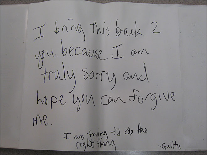 Stolen tandem bike returned with 'I'm sorry' note