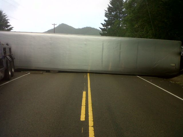 truck overtuned near tenmile 1